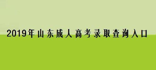 2019年山东成人高考录取查询入口